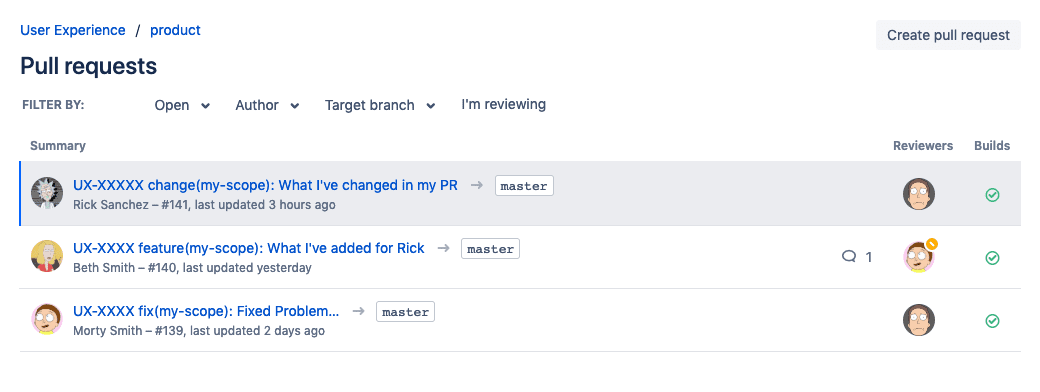 Pull Request overview bitbucket – all succeeding