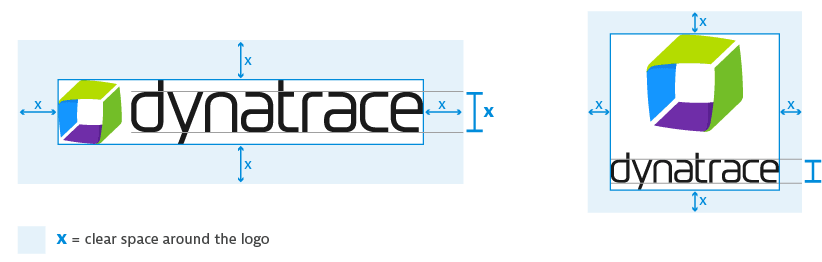 Spacing guides for the dynatrace logo in vertical and horizontal